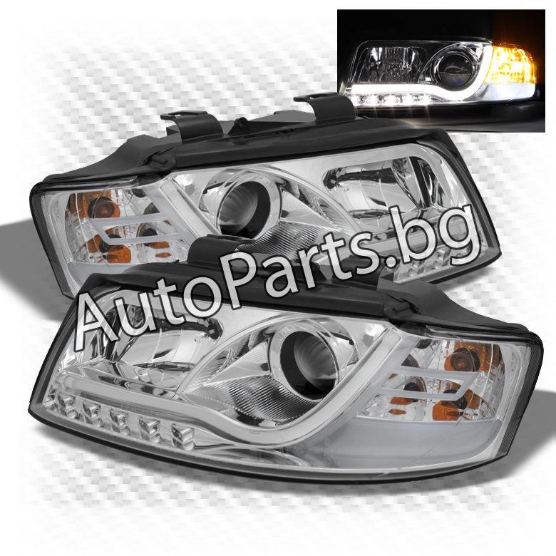Тунинг фарове с габаритни LED светлини и лупи за AUDI A4 01-05