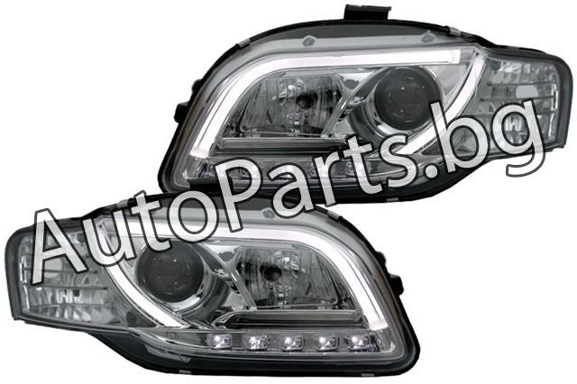 Тунинг фарове хром с габаритни LED светлини и лупи за AUDI A4 05-08