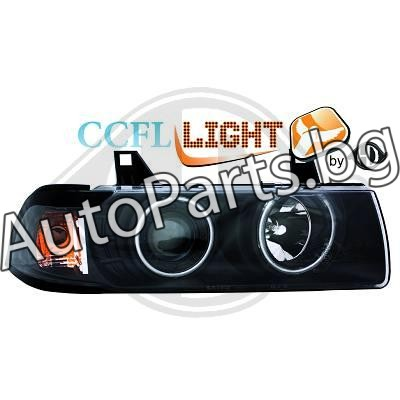 Кристални фарове CCFL Angel Eyes черни за BMW 3Ser (E36) SDN / S/W 90-98
