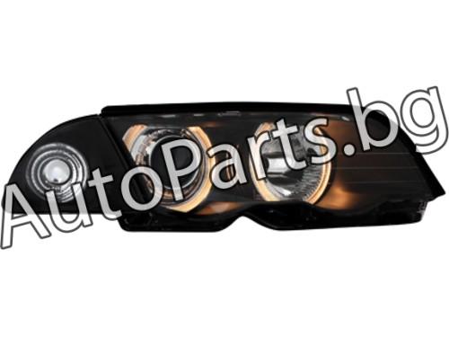 Тунинг фарове с ангелски очи и лупи черни за BMW 3Ser (E46) SDN/SW 99-02